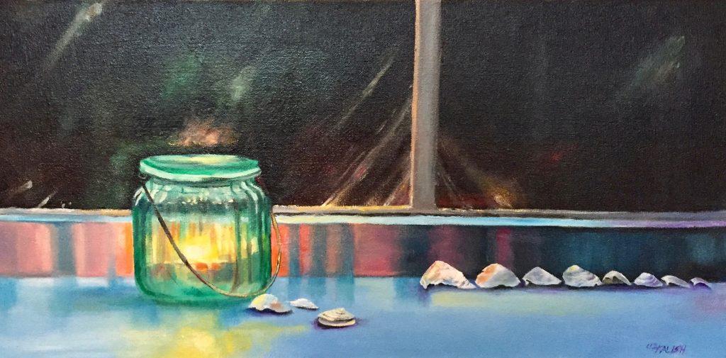 painting of jar lantern and shells