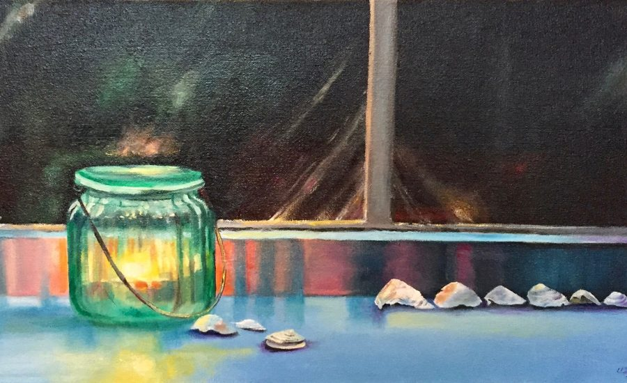 painting of jar lantern and shells